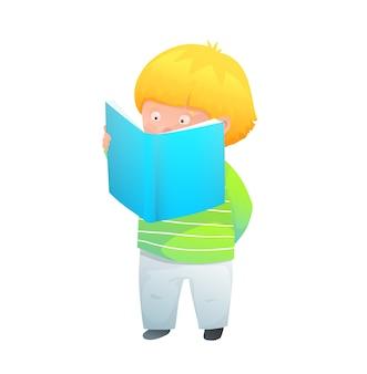 Adorável criança em pé lendo um livro divertido ou fazendo lição de casa. ilustração estilo aquarela.