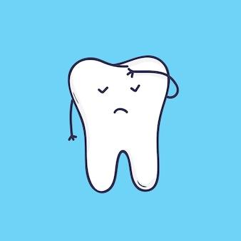 Adorável dente molar com o rosto cobrindo a testa com a mão.