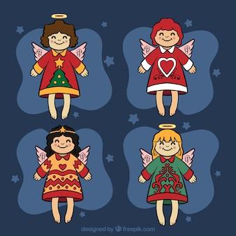 Adorável desenhado à mão anjos do natal