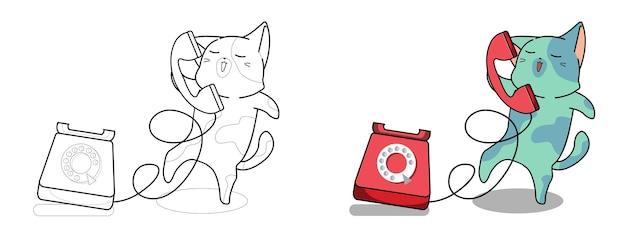 Adorável desenho de gato e telefone para colorir para crianças