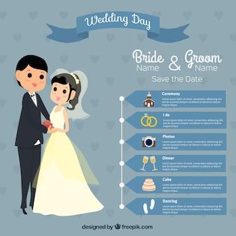Adorável dia do casamento infografia