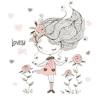 Adorável é uma menina com flores de rosas.