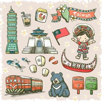 Adorável estilo desenhado à mão, especialidades de taiwan