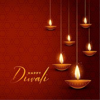 Adorável feliz diwali decorativo diya design cartão festival