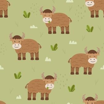 Adorável gado ou vaca sem costura padrão