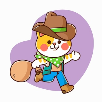 Adorável gatinho brincando de caubói personagem doodle ilustração recurso