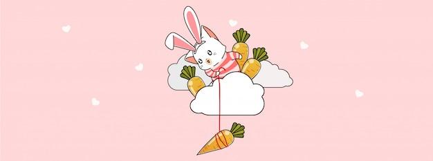 Adorável gato coelhinho está pescando cenoura na nuvem em dia de primavera