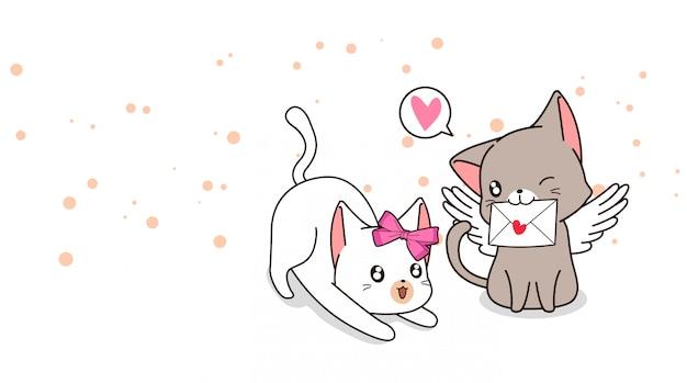 Adorável gato cupido com carta de amor e namorada