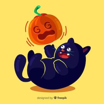 Adorável gato preto de halloween com design plano