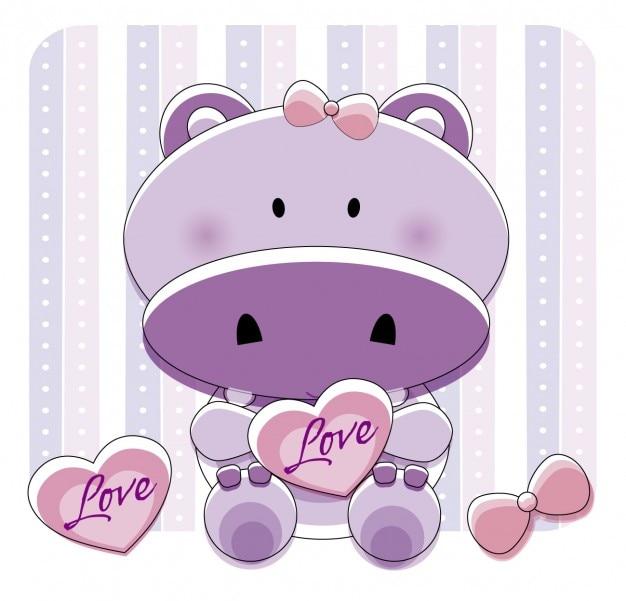 Adorável hipopótamo com corações