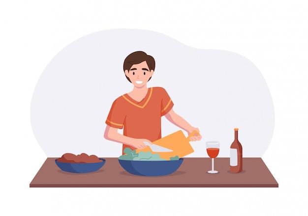 Adorável homem cozinhando na mesa da cozinha. personagem de desenho animado masculino fazendo salada para o almoço ou jantar. conceito de ilustração culinária passatempo. cena interior de vista frontal em estilo simples