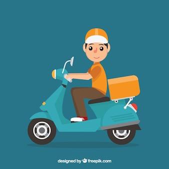 Adorável homem de entrega com scooter uma caixa