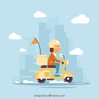 Adorável homem de entrega na cidade
