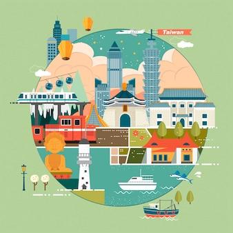 Adorável ilustração do conceito de viagens em taiwan