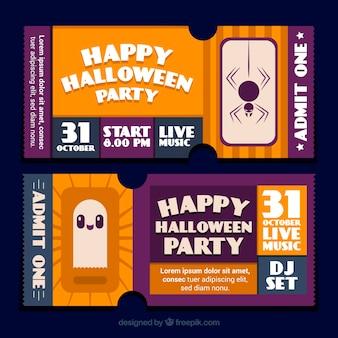 Adorável ingressos de halloween com fantasma e aranha
