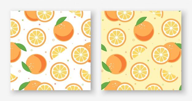 Adorável laranja branco e amarelo sem costura padrão
