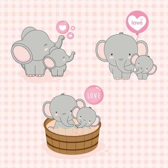 Adorável mãe e bebê elefante com amor
