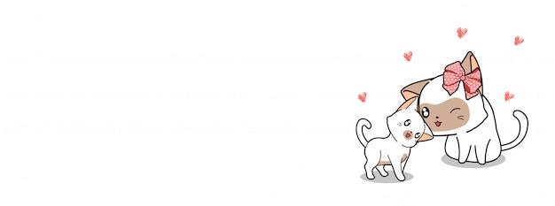 Adorável mãe gato e bebê gato estão amando