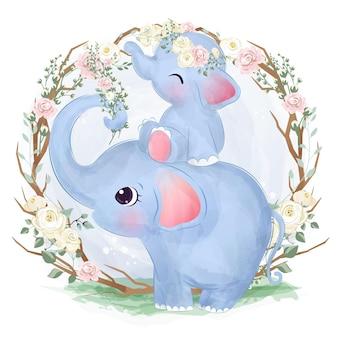 Adorável mamãe e bebê elefante em aquarela