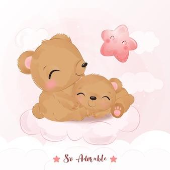 Adorável mamãe e bebê urso em aquarela.