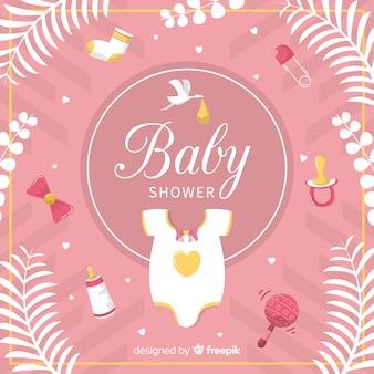 Adorável mão desenhada bebê chuveiro composição