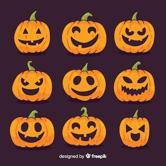 Adorável mão desenhada coleção de abóbora de halloween
