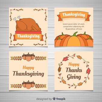 Adorável mão desenhada coleção de cartão de ação de graças