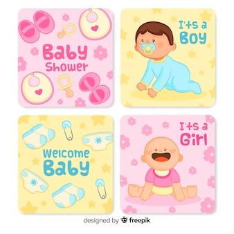 Adorável mão desenhada coleção de cartão de chá de bebê