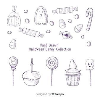 Adorável mão desenhada coleção de doces de halloween