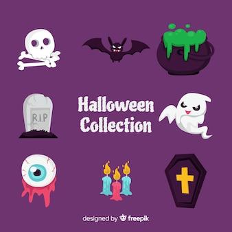 Adorável mão desenhada coleção de elemento de halloween