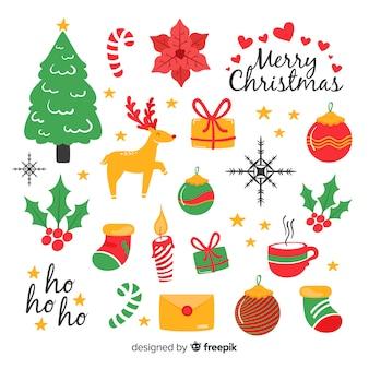 Adorável mão desenhada coleção de elemento de natal