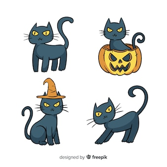 Adorável mão desenhada coleção de gato do dia das bruxas