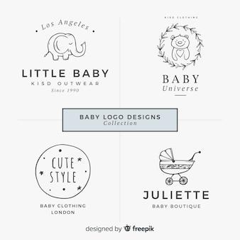 Adorável mão desenhada coleção de logotipo de bebê