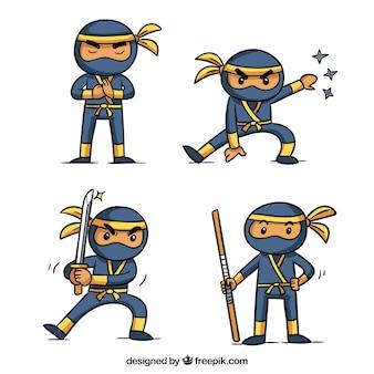 Adorável mão desenhada coleção de personagens ninja