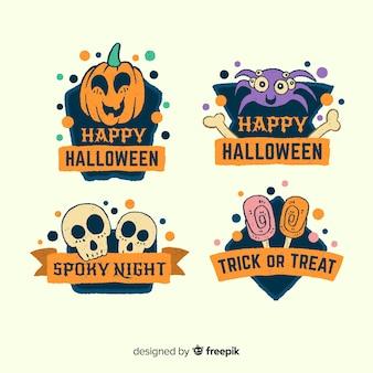 Adorável mão desenhada coleção de rótulo de halloween