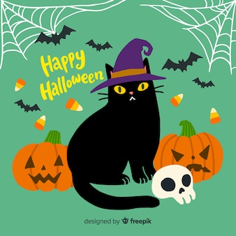 Adorável mão desenhada gato halloween