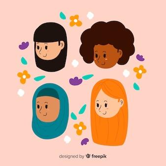 Adorável mão desenhada internacional grupo de mulheres
