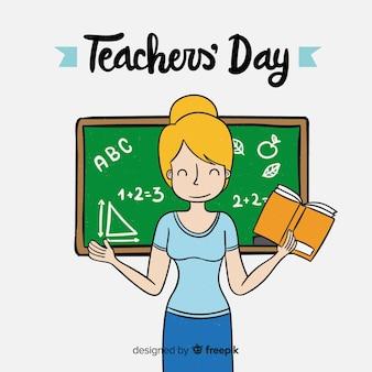 Adorável mão desenhada mundo professores 'dia composição