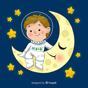 Adorável mão desenhada personagem de menino astronauta