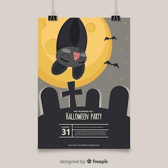 Adorável mão desenhada pôster de festa de halloween