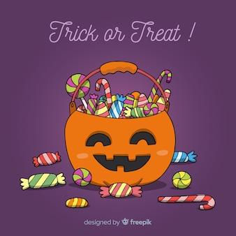 Adorável mão desenhada saco de doces de halloween