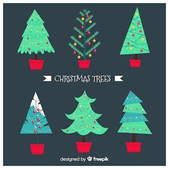 Adorável, mão, desenhado, árvore natal, cobrança