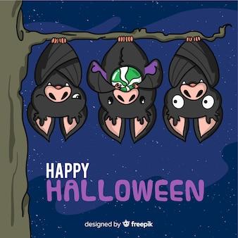 Adorável, mão, desenhado, dia das bruxas, morcegos