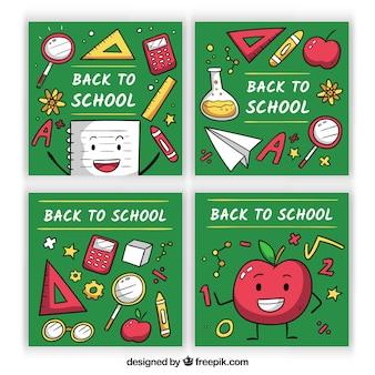 Adorável, mão, desenhado, escola, cartão, cobrança