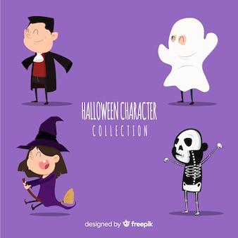 Adorável, mão, desenhado, halloween, personagem, cobrança