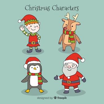 Adorável, mão, desenhado, natal, personagem, cobrança