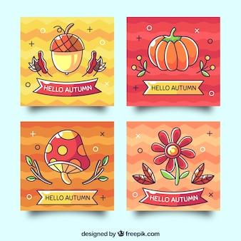 Adorável, mão, desenhado, outono, cartão, cobrança