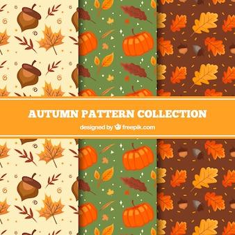 Adorável, mão, desenhado, outono, padrão, cobrança