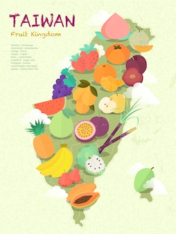 Adorável mapa de frutas de taiwan