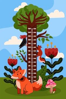 Adorável medidor de altura de desenho animado